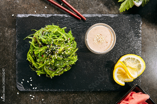 Hiyashi Wakame Chuka, Kelp Salad or Seaweed Food Salat Wallpaper Mural