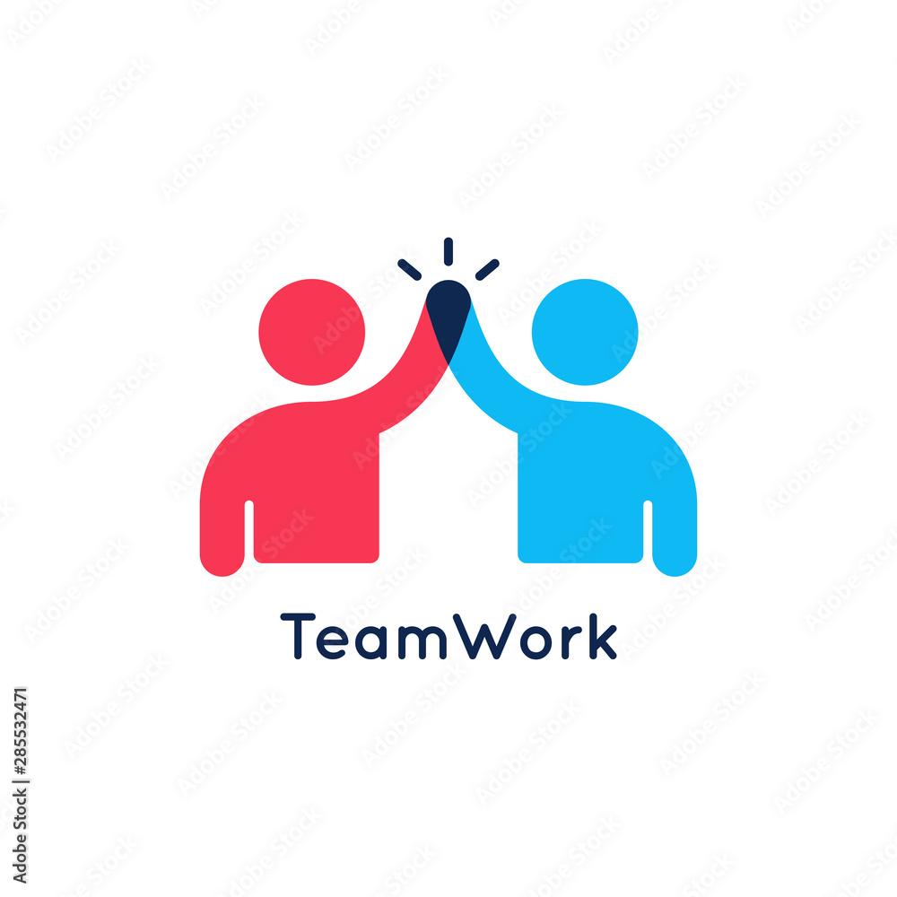 Fototapeta Teamwork concept logo. Team work icon on white