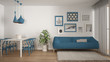 Leinwanddruck Bild - Warm and confortable colored white and blue living room with dining table, sofa and fur carpet, potted plant and parquet floor, contemporary architecture interior design