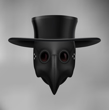 Plague Doctor Head Profile, With Bird Mask And Hat. Medieval Death Symbol On Gray Background. For Web, Poster, Info Graphic
