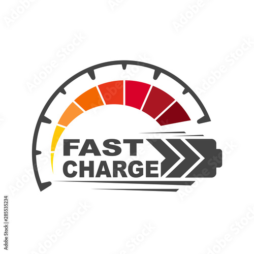 Fototapeta Battery charging logo icon. Quick and fast charge logo icon. EPS 10. obraz