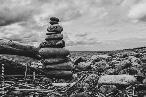 Recess Fitting Buddha stack of stones on the beach