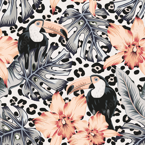 toucans-orchid-flowers-monstera-banana-palm-leaves-animal-print-background-vector-floral-seamless-pattern-tropical-illustration-exotic-plants-birds-summer-beach-design-paradise-nature