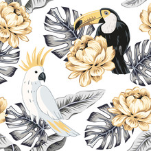 Toucans, Parrots, Yellow Rose Flowers, Gray Monstera Palm Leaves, White Background. Vector Floral Seamless Pattern. Tropical Illustration. Exotic Plants, Birds. Summer Beach Design. Paradise Nature