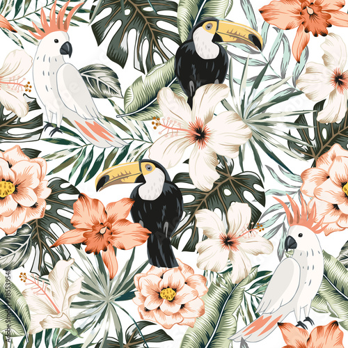 Toucans Parrots Hibiscus Orchid Flowers Monstera Palm Leaves White Background Vector Floral Seamless Pattern Tropical Illustratioexotic Plants Birds Summer Beach Design Paradise Nature Wall Mural Ojardin Lovepik provides 67000+ aesthetic leaves photos in hd resolution that updates everyday, you can free download for both personal and commerical use. toucans parrots hibiscus orchid flowers monstera palm leaves white background vector floral seamless pattern tropical illustratioexotic