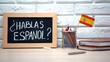 canvas print picture - Do you speak Spanish written on board, international flag in box, language