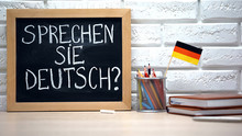 Do You Speak German Written On Board, International Flag In Box, Language