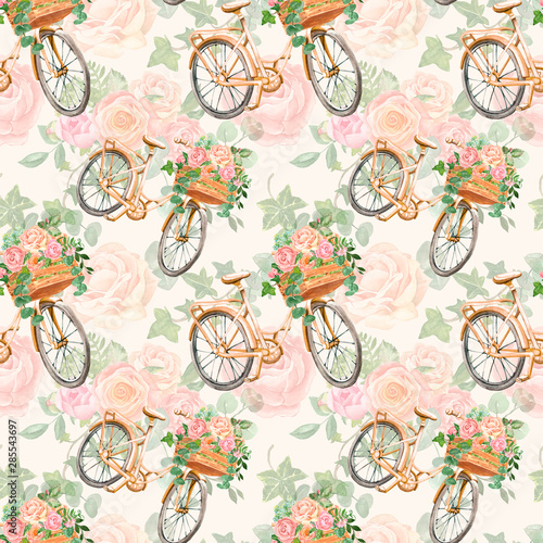 Romantic botanical seamless pattern with hand painted beautiful bicycle and pretty flowers on bright background. Floral bouquet with pink roses, eucalyptus stems, ivy leaves. Vintage style print.