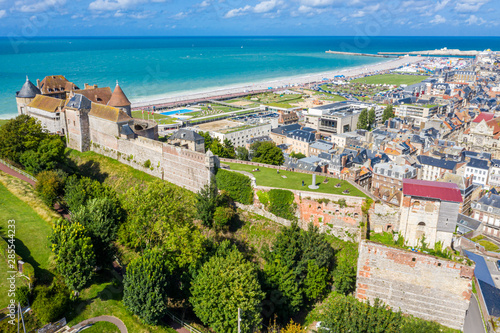 Valokuvatapetti Aerial view of Dieppe town, the fishing port on the English Channel, at the mouth of Arques river