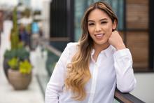 Beautiful Hispanic Woman Professional Portrait Headshot, Casual Smile, Cheerful, Positive, Optimistic, Joyful Smile