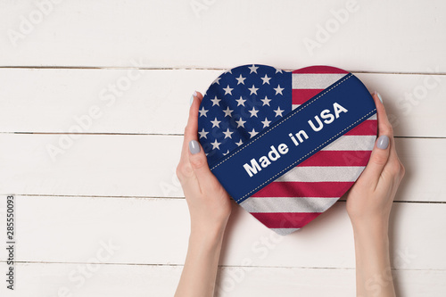 Photographie  Inscription Made in USA, the flag of USA