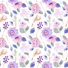 Purple Pink Pastel Floral Wate...