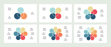 Business Infographics. Pie Charts With 3, 4, 5 , 6, 7, 8 Sections. Vector Template.