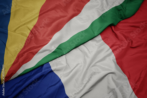 Photo  waving colorful flag of france and national flag of seychelles.
