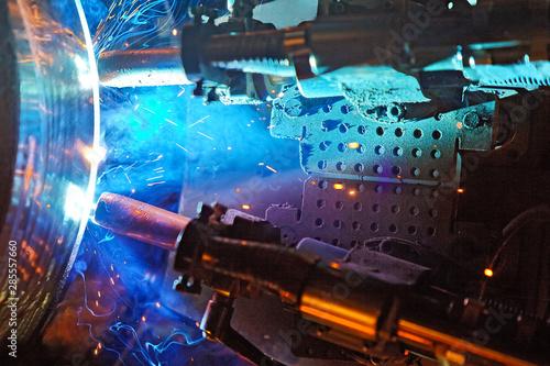 Foto op Plexiglas Stadion Butt welding underwater pipeline using automatic equipment