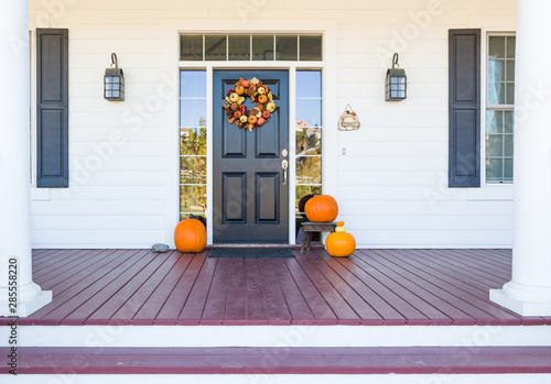 Fotografering  Fall Decoration Adorns Beautiful Entry Way To Home
