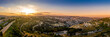 canvas print picture - Aerial sunset view of Jerusalem  with the old city and the western parts, Silwan, Rehavia, Abu Tor and talpiyot