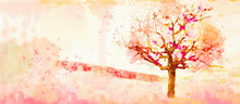 Autumn Watercolor Background. ...
