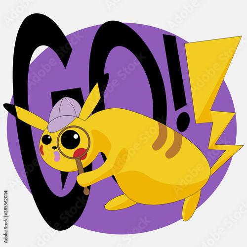 Photo  Pikachu Pokemon logo for t-shirt or sticker design