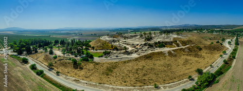 Aerial panorama of ancient city of Tel Megiddo archaeological park, site of the Canvas Print