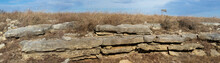 Limestone Rock Layers Panorama, Kansas Prairie