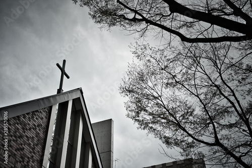 Foto auf Leinwand Rosa dunkel Cross on the church roof On a cloudy day.