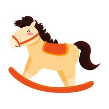 Rocking Horse Toy Baby On Whit...