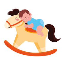 Baby Boy With Toy Rocking Horse