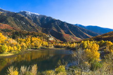 Lower Bells Canyon Reservoir And Wasatch Mountains From A Nearby Hill - Sandy, Utah