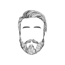 Mens Hairstyles, Beards And Mustaches. Gentlmen Haircuts And Shaves Hand Drawn Illustration.