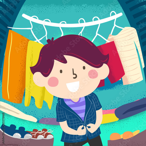 Kid Boy Appropriate Clothes Closet Illustration Canvas Print