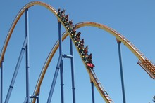 Roller Coaster Ride Descending Down Track