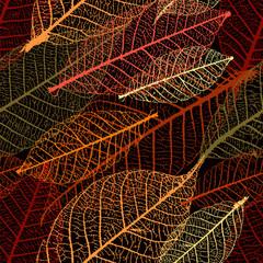 FototapetaAutumnal skeleton leaves vector seamless pattern. Purple palette.