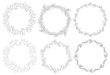 Doodle Hand Drawn Natural Autumn Wreath Collection