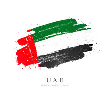UAE Flag. Brush Strokes Are Drawn By Hand. Independence Day..