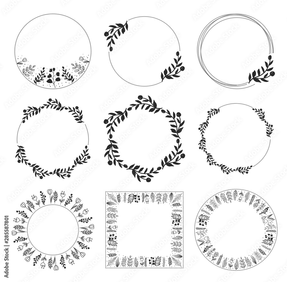 Fototapeta doodle style floral leaf wreath frame collection