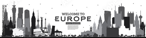 Valokuva Welcome to Europe Skyline Silhouette with Black Buildings Isolated on White