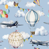 Watercolor seamless pattern with clouds and aerostates. Hand painted sky illustration with hot air balloons, planes and garlands isolated on blue background. For design, prints, fabric or background.