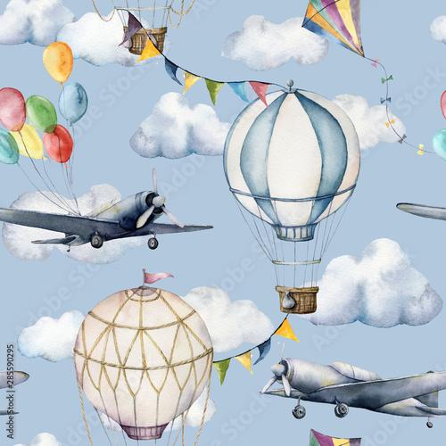akwarela-bezszwowe-wzor-z-chmury-i-aerostaty-recznie-malowane-niebo-ilustracja-z-balonow-na-ogrzane-powietrze-samolotow-i-girlandy-na-bialym-tle-na-niebieskim-tle