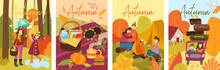 Set Of Four Colorful Depiction...