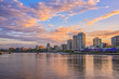 Brisbane downtown waterfront and skyline at sunset