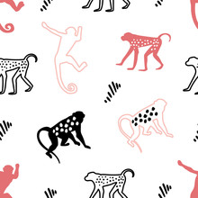 Childish Seamless Pattern With Ink Drawn Monkey In Scandinavian Style. Creative Kids Texture For Fabric, Wrapping, Textile, Wallpaper, Apparel.