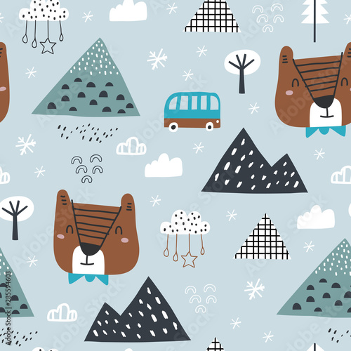 Valokuva Childish seamless pattern with winter forest, mountain and bear