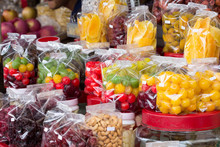 Candied Fruits For Sale On A Market Stall In Mae Sai, Thailand