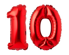 Number 10 Of Red Foil Balloon Isolated On A White Background