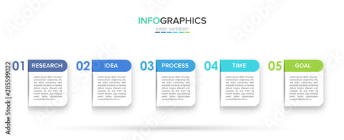 Fotografia  Infographic design with icons and 5 options or steps