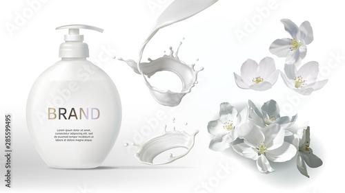 Carta da parati Cosmetic realistic vector background with cream or milk swirl, splash and jasmine flowers