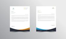 Orange And Blue Letterhead Design Template - Vector