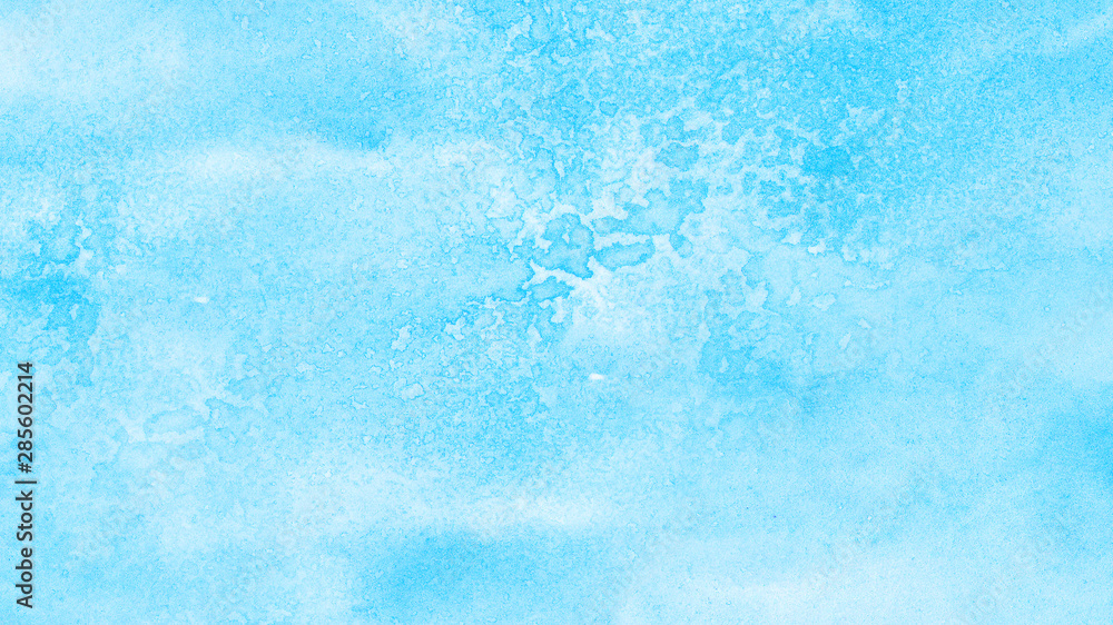 Fototapety, obrazy: Aquarelle painted paper textured canvas for vintage design, invitation card, template. Light blue sky shades color watercolor illustration, creative background, smeared turquoise frame