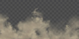 Fototapeta Miasto - Road dust cloud with dirt or soil particles, brown color powder splash frozen motion 3d realistic vector illustration isolated on transparent background. City smog, dirty smoke texture. Air pollution